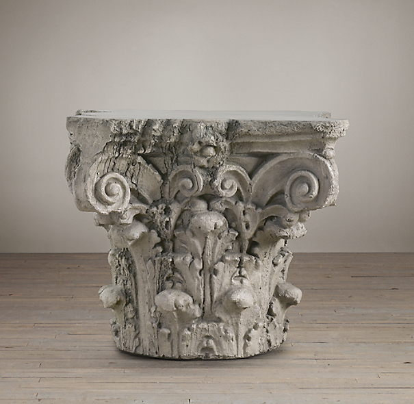 Scrolling Corinthian Capital Side Table (Set of 2)
