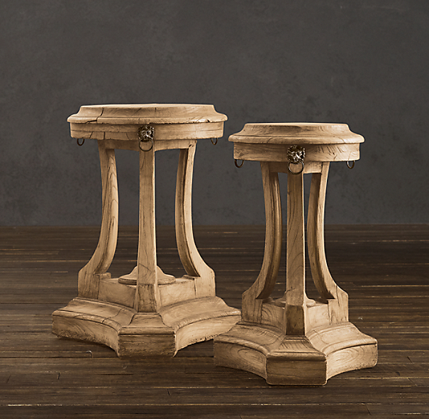 18th C. Lion's Head Side Tables Natural (Set of 2)