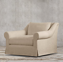 Belgian Roll Arm Slipcovered Swivel Chair