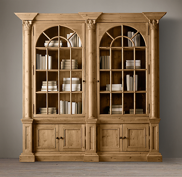 Palladian Salvaged Pine Library Bookcase Double