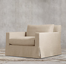 Belgian Track Arm Slipcovered Swivel Chair
