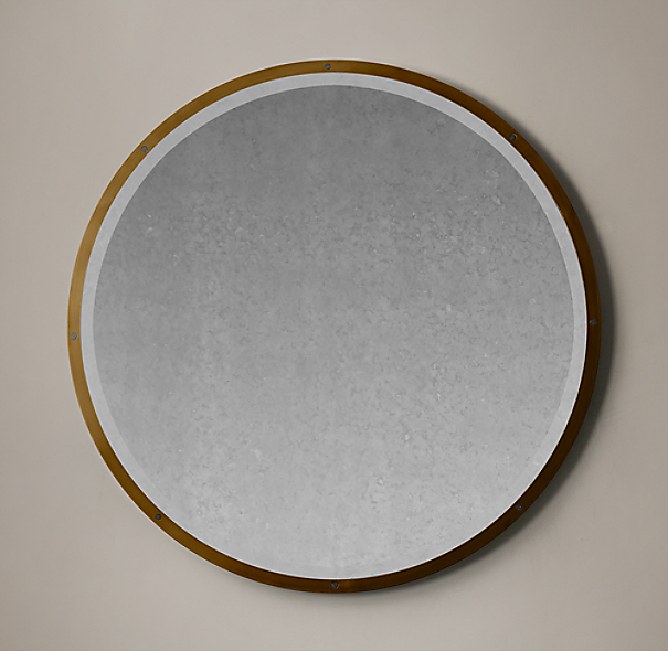 Bistro Antiqued Brass Round Mirror