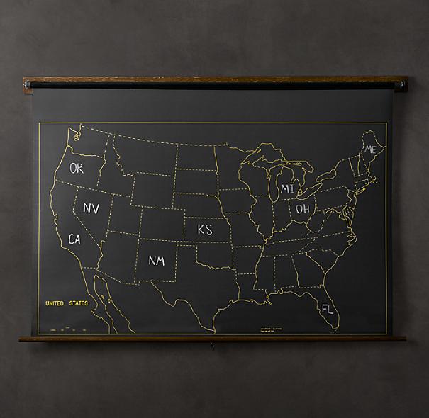 Restoration Hardware Usa: Military Chalkboard US Map