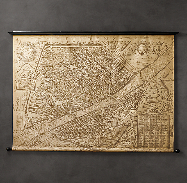 1595 Florence Scrolled Map