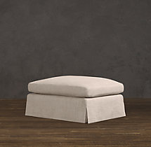 Belgian Roll Arm Slipcovered Ottoman
