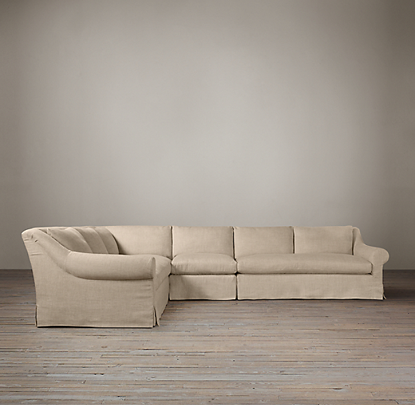 Belgian Roll Arm Slipcovered L-Sectional