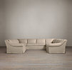 Belgian Roll Arm Slipcovered U-Sofa Sectional