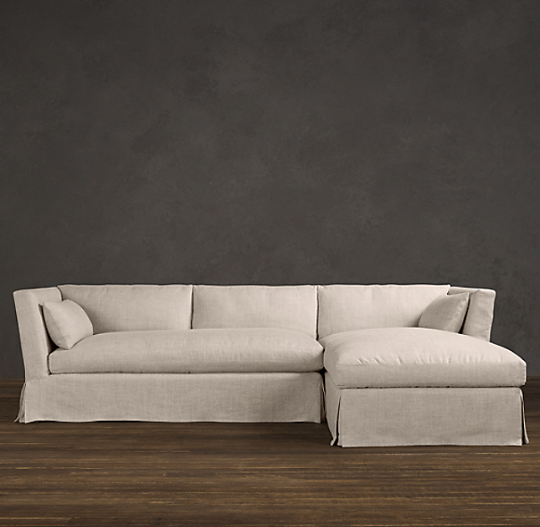 Belgian Shelter Arm Slipcovered Right-Arm Sofa Chaise Sectional