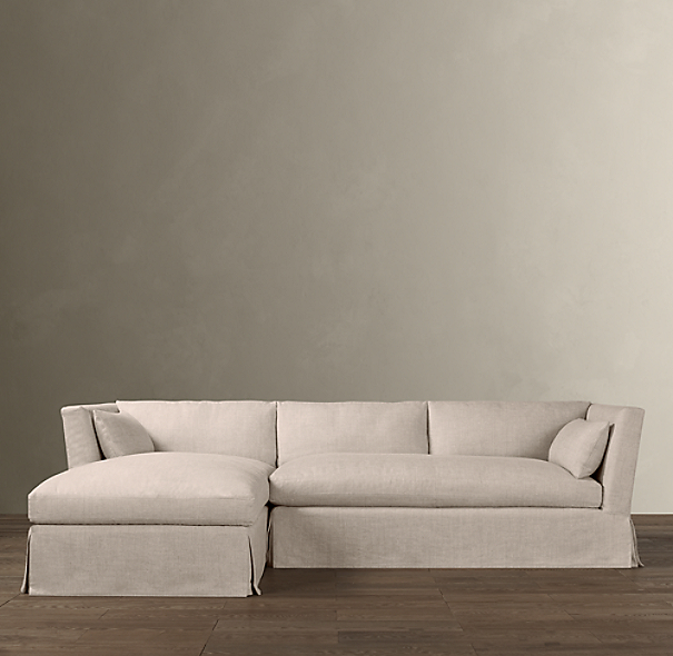 belgian shelter arm slipcovered left arm sofa chaise sectional