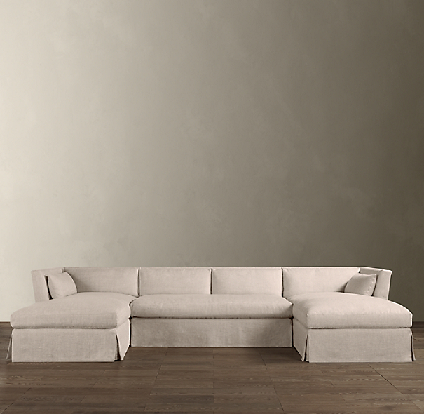 Belgian Shelter Arm Slipcovered U-Chaise Sectional