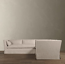 Belgian Shelter Arm Slipcovered Corner Sectional