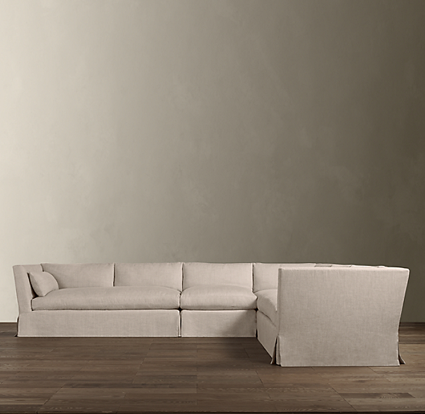 Belgian Shelter Arm Slipcovered Right-Arm L-Sectional