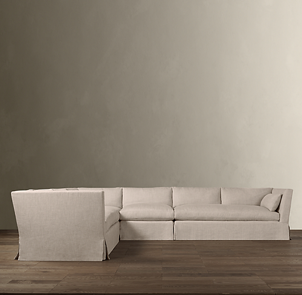 Belgian Shelter Arm Slipcovered L-Sectional