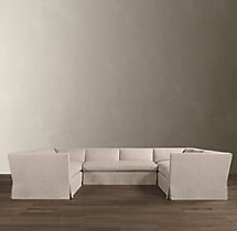 Belgian Shelter Arm Slipcovered U-Sofa Sectional