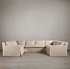Belgian Track Arm Slipcovered U-Sofa Sectional