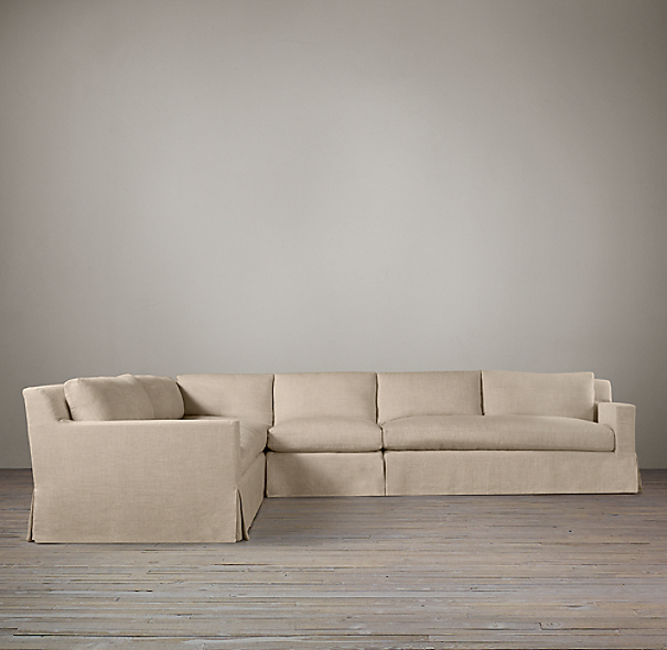 Belgian Track Arm Slipcovered L-Sectional