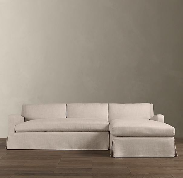 Belgian Slope Arm Slipcovered Right Arm Sofa Chaise Sectional