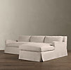 Belgian Slope Arm Slipcovered Left Arm Sofa Chaise Sectional