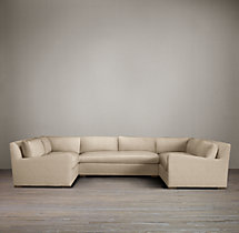 Belgian Slope Arm Upholstered U-Sofa Sectional