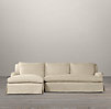 Belgian Classic Roll Arm Slipcovered Left-Arm Sofa Chaise Sectional