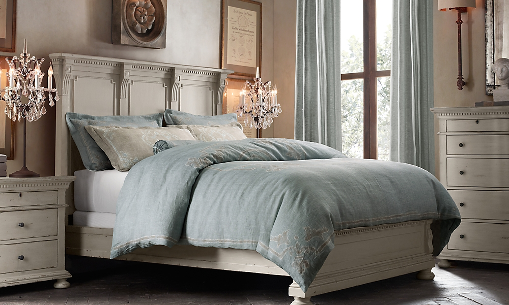 st james panel queen bed without footboard antiqued taupe