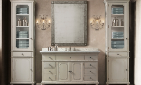 St. James Single Extra-Wide Vanity Sink Italian Carrara Marble ...
