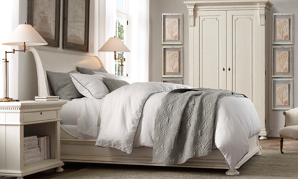 st james queen sleigh bed antiqued white