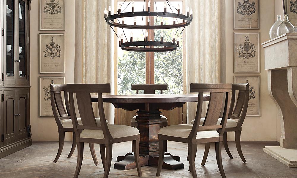 pedestal salvaged wood round 60 dining table brown oak