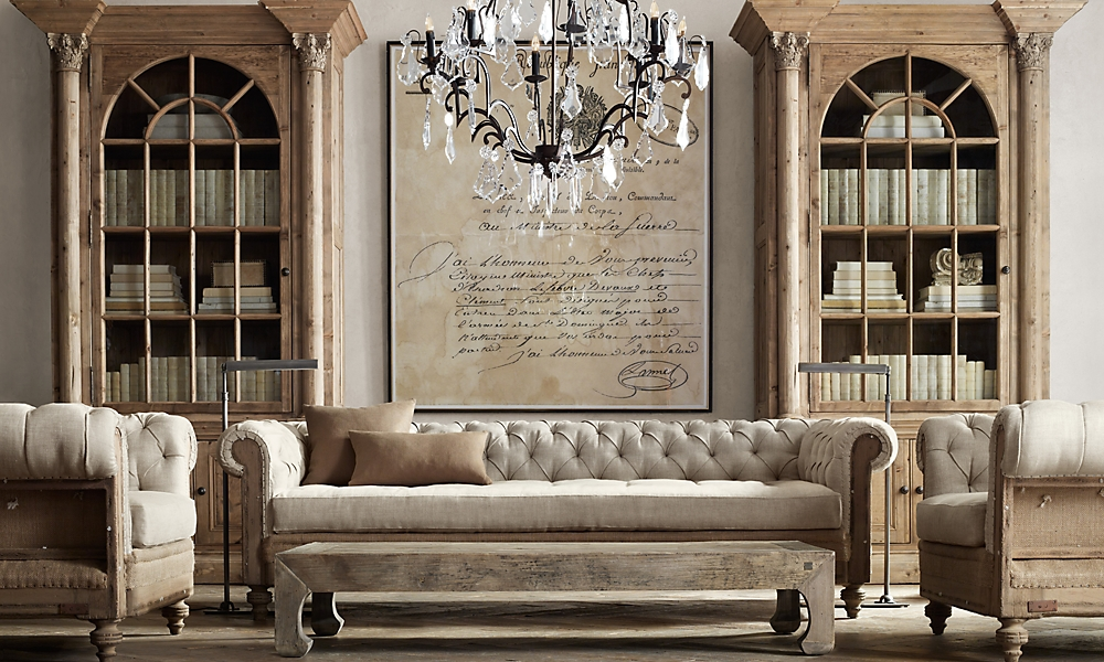 Restoration Hardware Bedroom Paint Ideas Pict Deconstructed Chesterfield 9 39 Sofa Upholstered Down Belgian Linen Sand