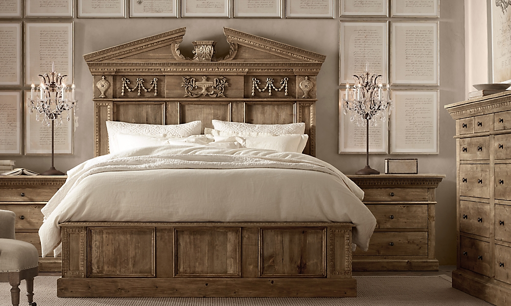 entablature panel queen bed without footboard salvaged natural