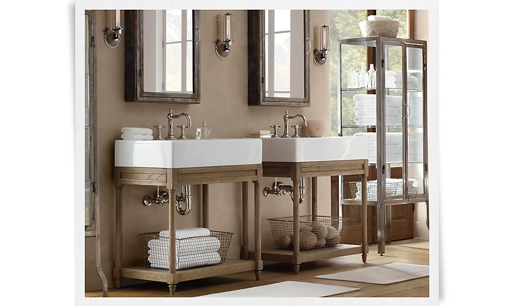 weathered oak single console sink