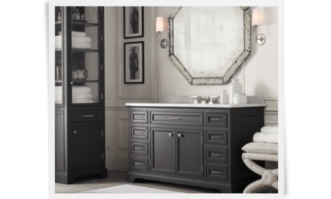Bom Kent Single Extra Wide Vanity Obsidian With Carrara