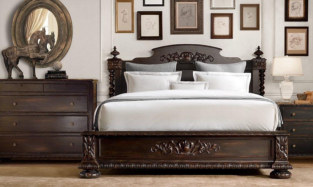 french empire panel queen bed without footboard antiqued black