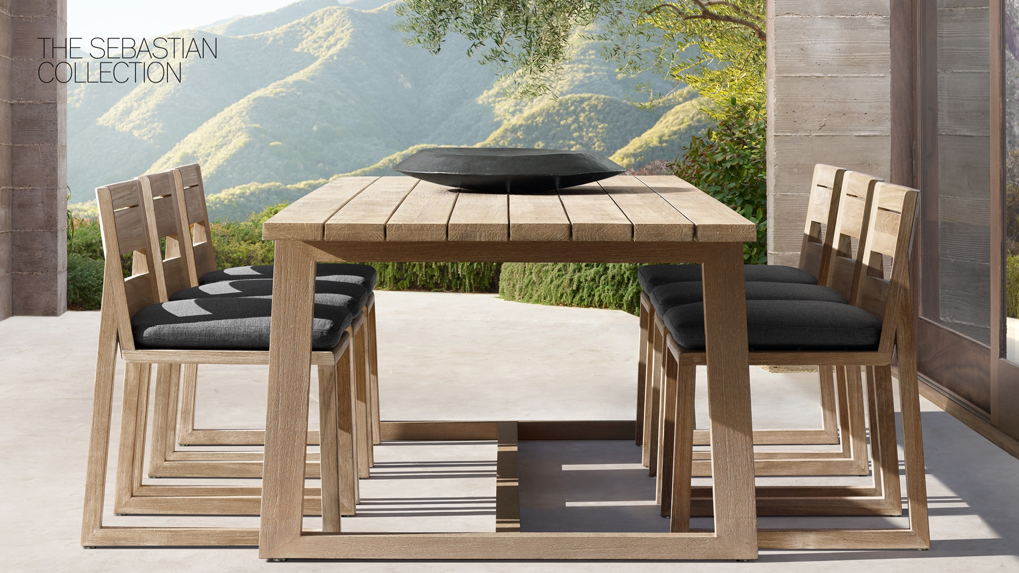 Outdoor Dining Table With Three Chairs On Each Side Wooden And