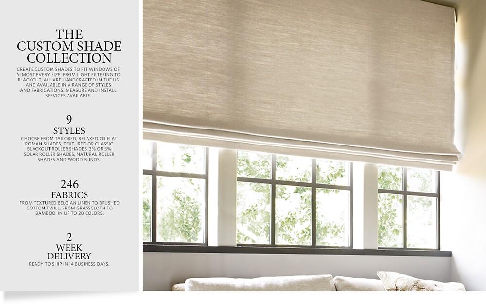 Custom shades rh for Restoration hardware window shades