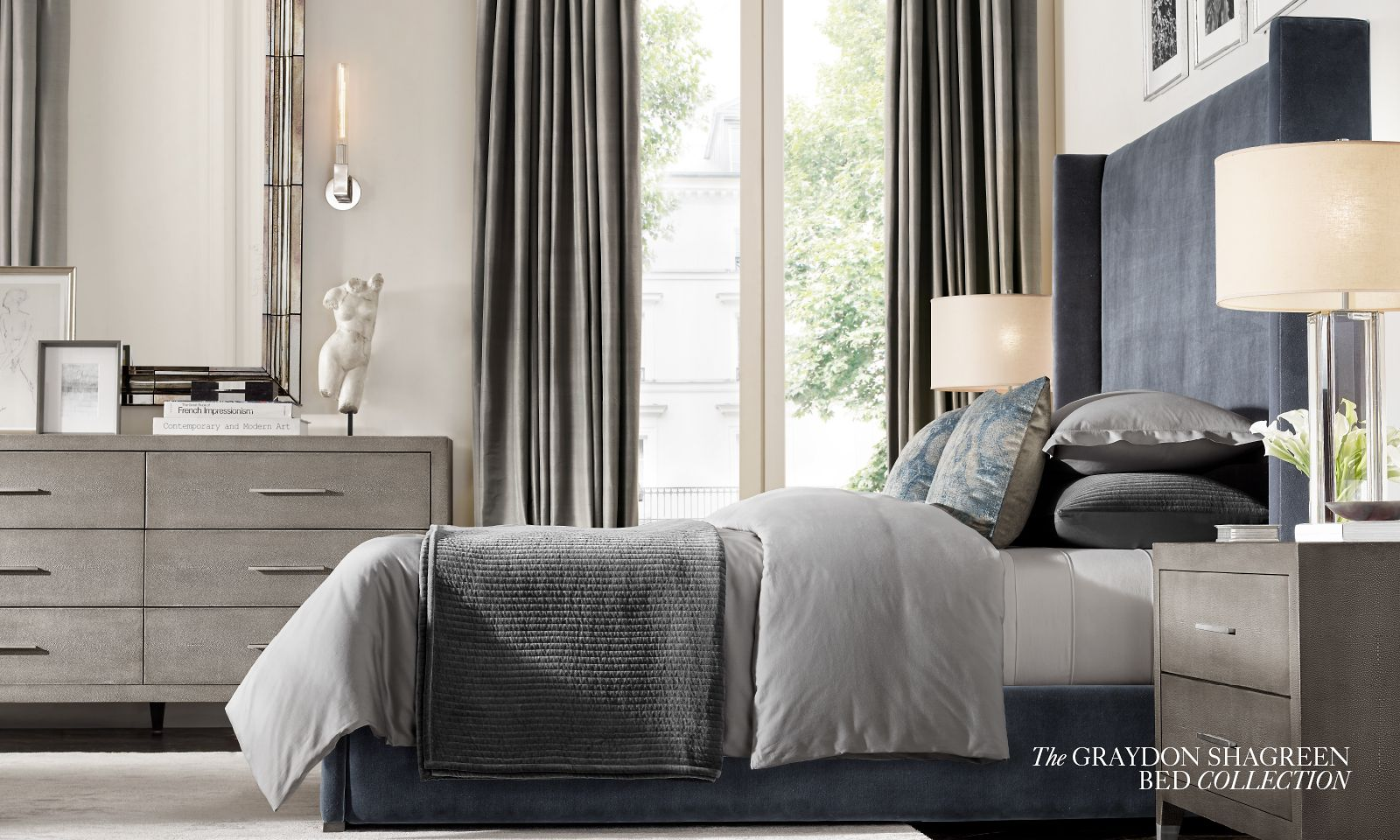 The Graydon Shagreen Bed Collection