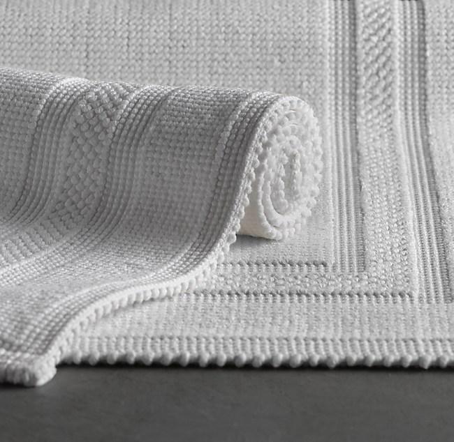 White Bathroom Rugs | Woven Bath Rug