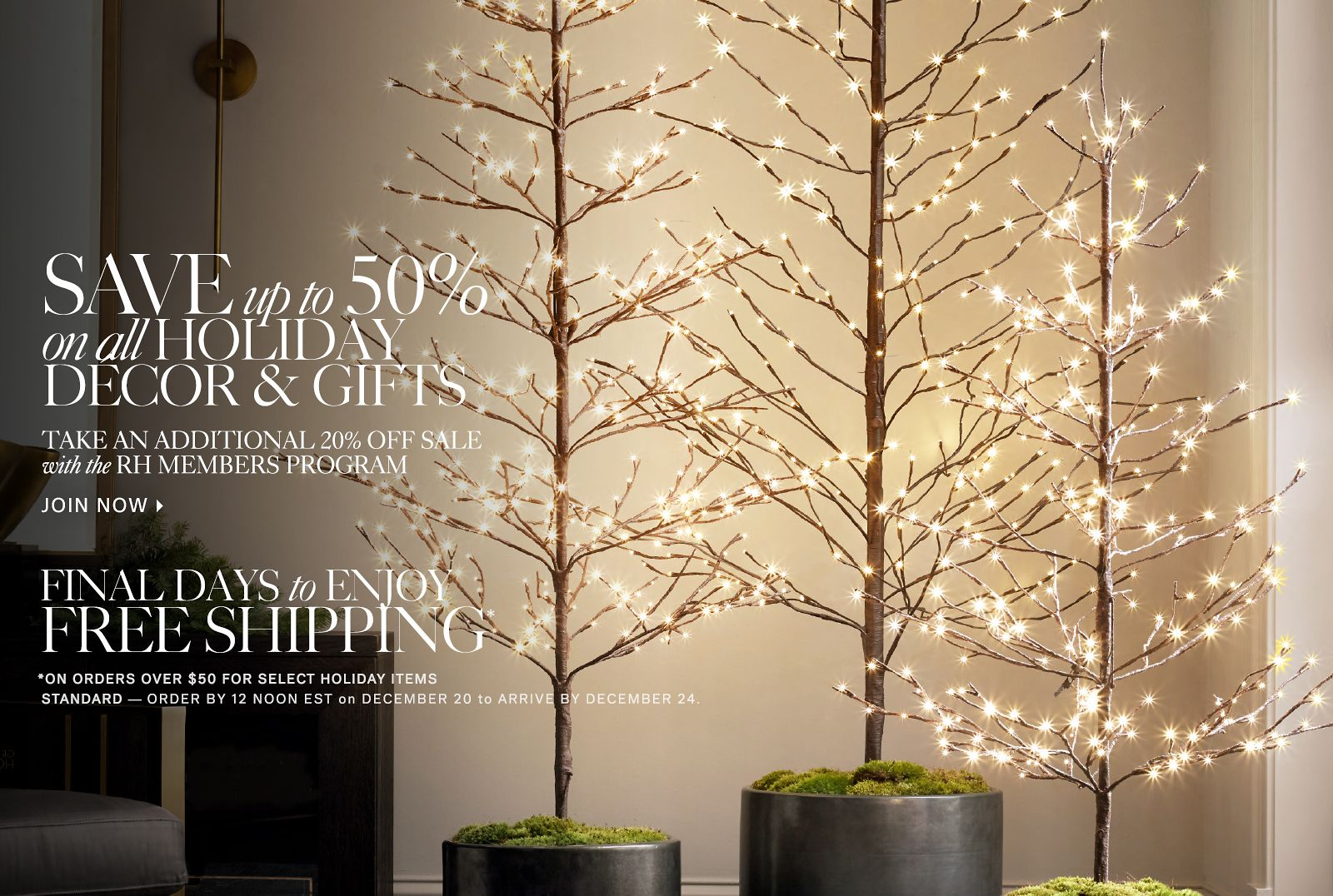 Save up to 50% on Holiday Gifts and Decor