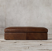Belgian Classic Shelter Arm Leather Coffee Ottoman