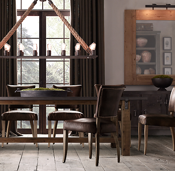 Reclaimed Wood Zinc Top Rectangular Dining Table