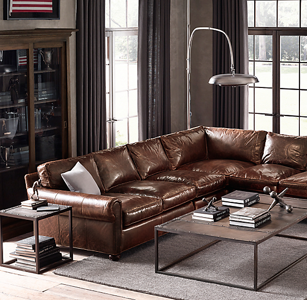Preconfigured Original Lancaster Leather L Sectional