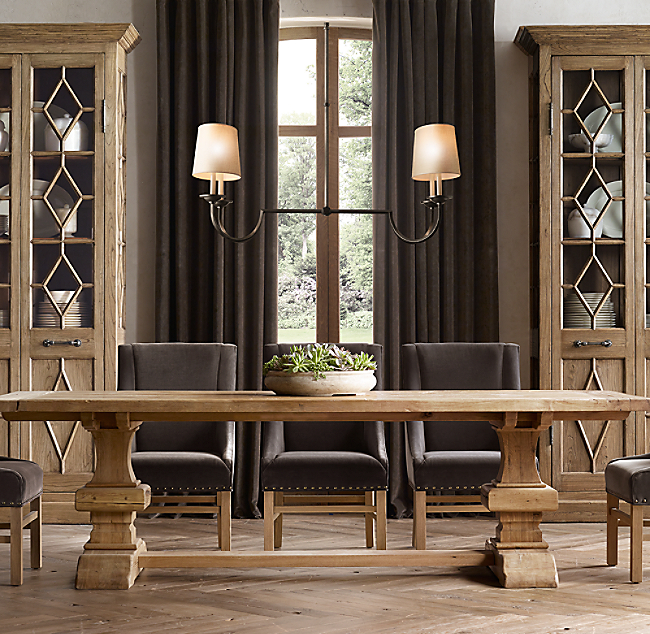 a0fea3f8ae3ed Reclaimed Russian Oak Baluster Rectangular Extension Dining Table