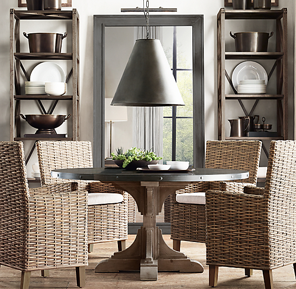 20th C Reclaimed Pine Amp Zinc Trestle Round Dining Table