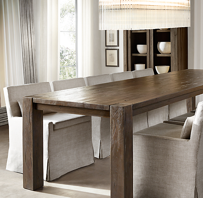 Reclaimed Russian Oak Parsons Rectangular Dining Table