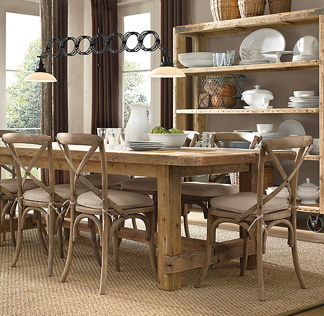 Salvaged Wood Farmhouse Rectangular Extension Dining Table
