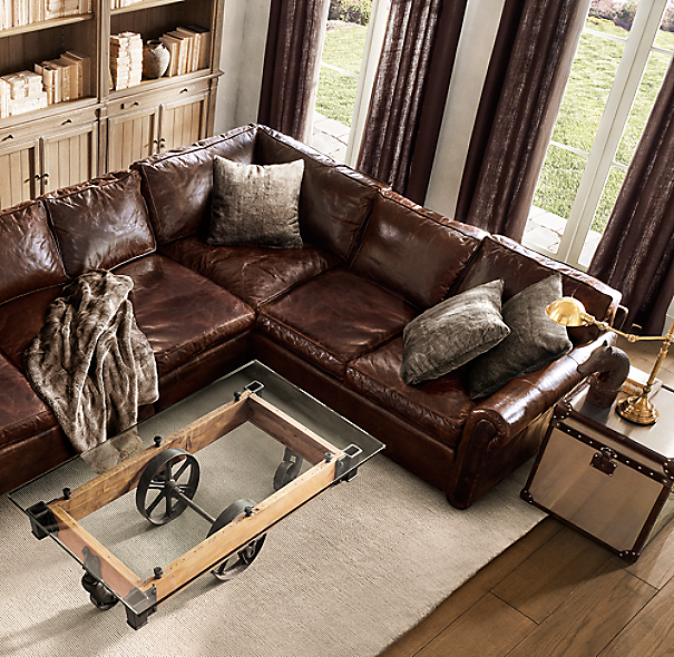 Original Lancaster Leather Customizable Sectional