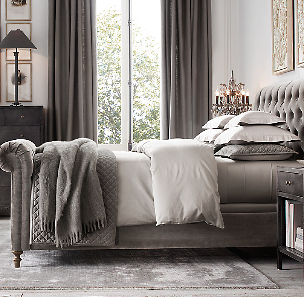 Restoration Hardware Bedroom Colors Cute Black And White Bedroom Ideas Little Boy Bedroom Furniture Girls Bedroom Colour Ideas: Washed Velvet Diamond-Quilted Coverlet & Sham
