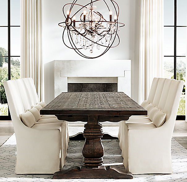 Dining Table With Three Extension Leaves And Six Matching: Salvaged Wood Trestle Rectangular Extension Dining Table