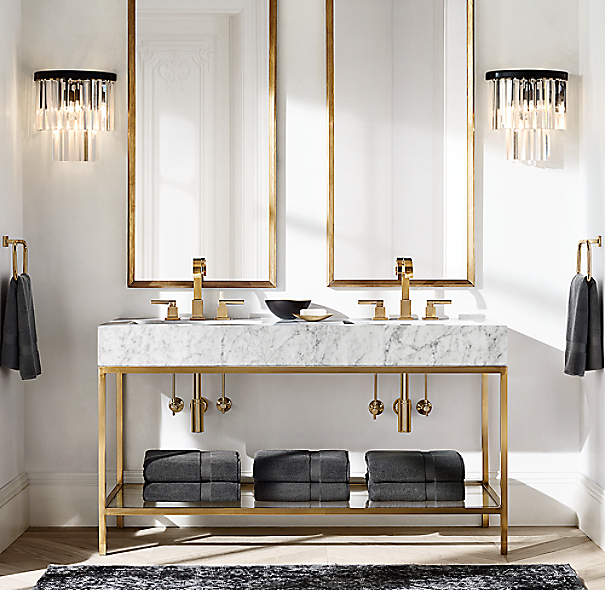 Restoration Hardware Bathroom Vanity Knockoff: 1920S Odeon Clear Glass Fringe Sconce