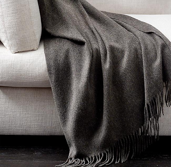 "Charcoal Grey ~ NEW Restoration Hardware 100/% Cashmere 50 x 70/"" Throw Blanket"
